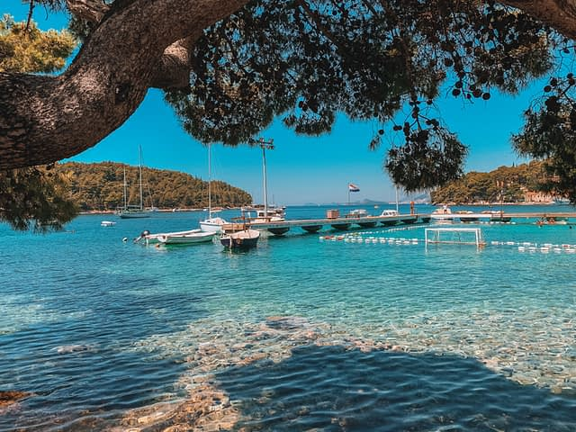 Cavtat with the ocean and boats in the background