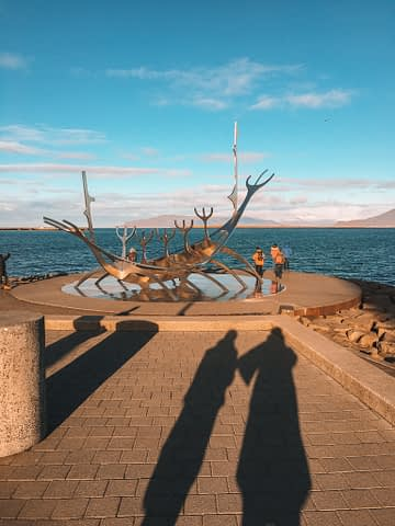 Sun Voyager Sunset Viking boat with the sea in the background. What to do in Iceland.