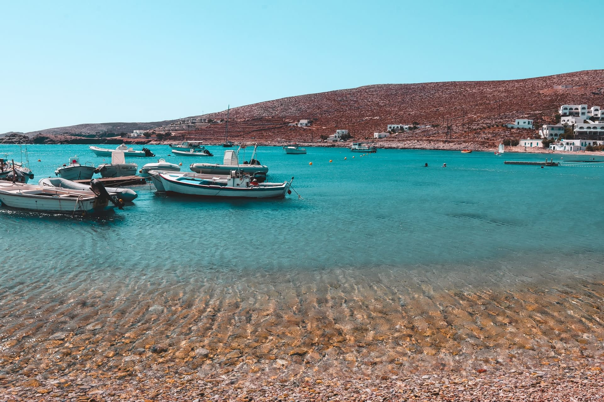 Turquoise ocean and boats. Where to go in Folegandros