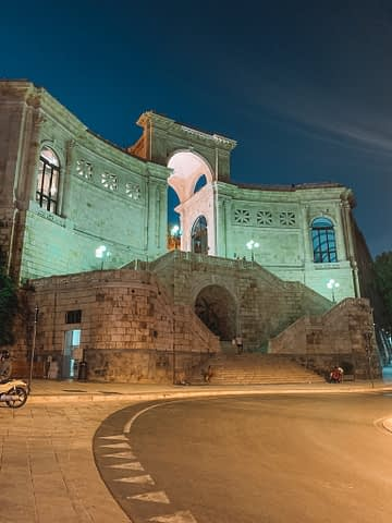 Bastione di Saint Remy at night and lit up. Things to do in Cagliari