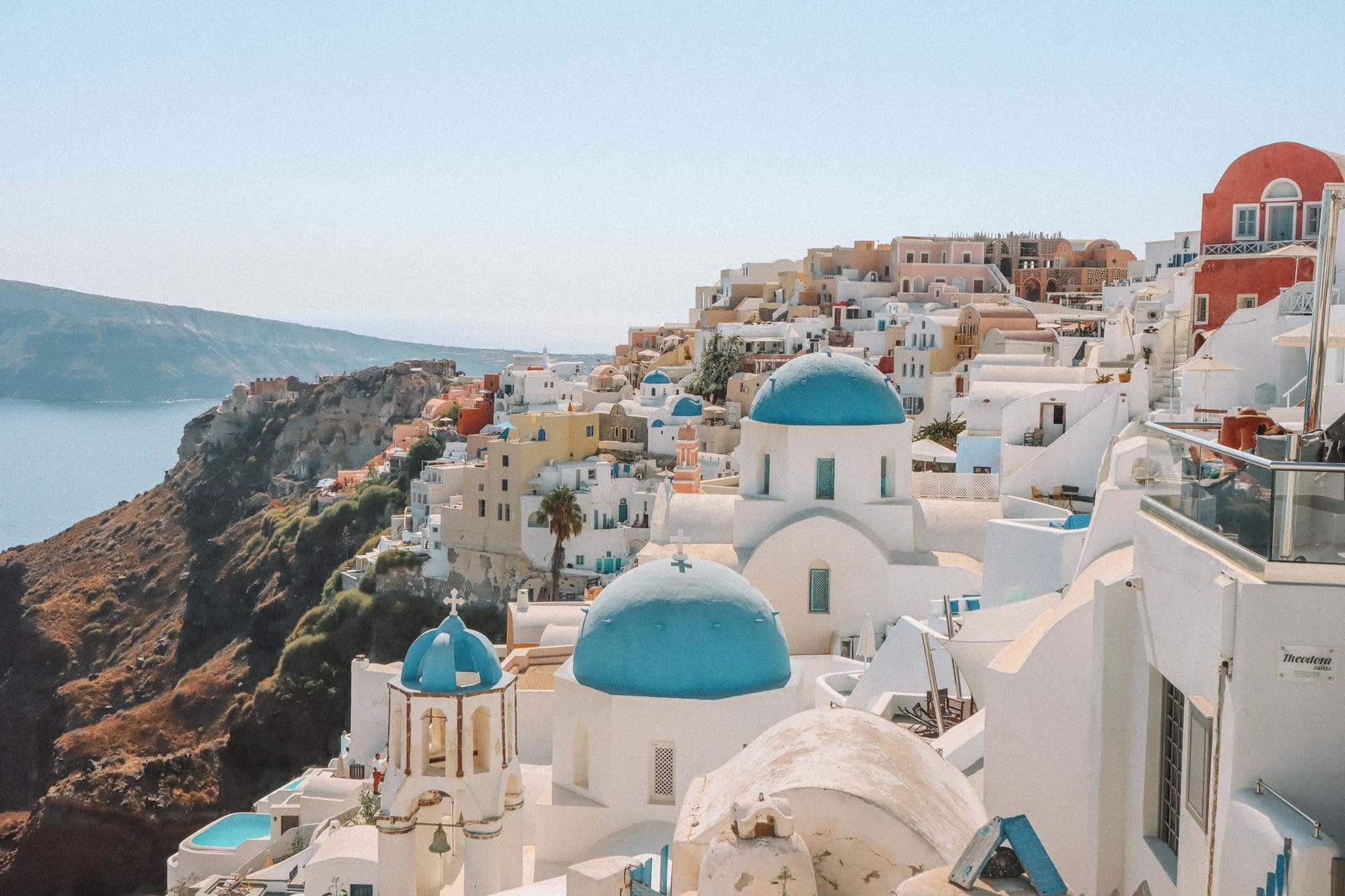 A view of blue domed churches in Oia