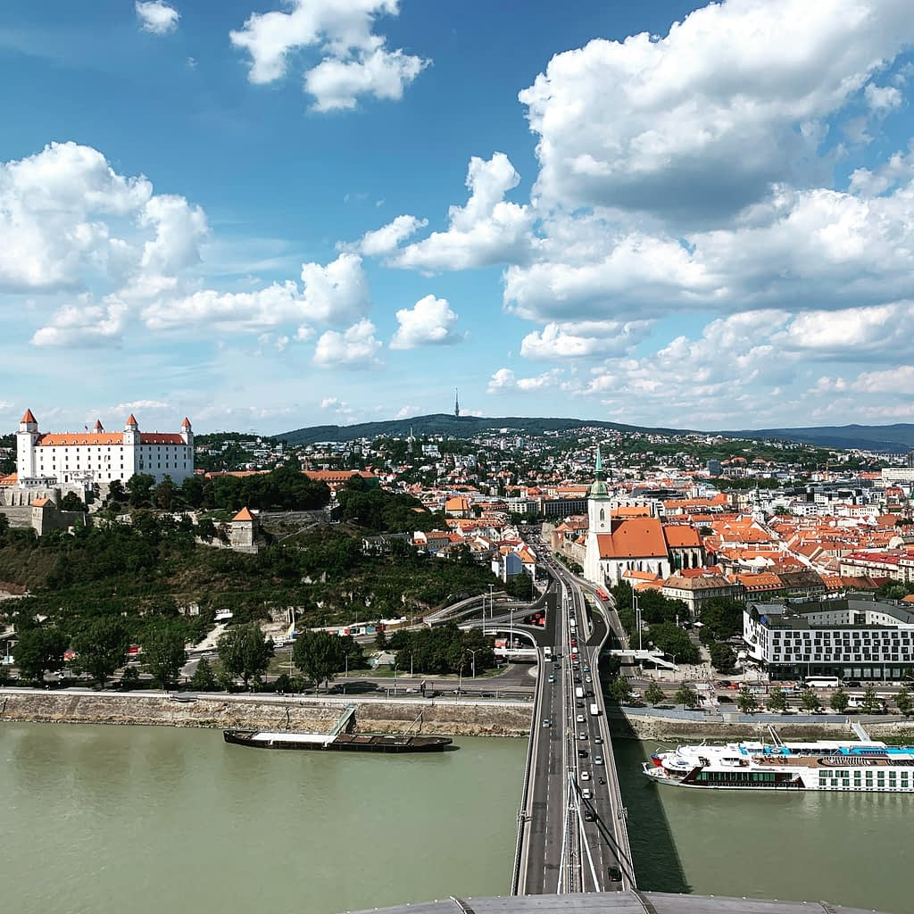 A viewpoint of Bratislava from the UFO tower as part of the Bratislava travel guide