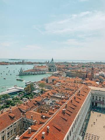 Campanile di San Marco Aerial view of city and sea. Venice in a day