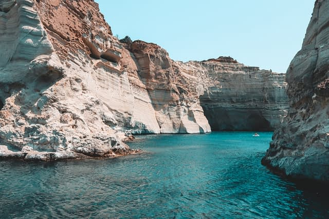 Mountainous cliff of Kleftiko caves. Things to do in Milos