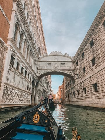A gondola facing towards the bridge of sighs. Venice in a day