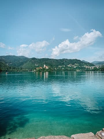 A view of Lake Bled with the island in the middle. Things to do at Lake Bled