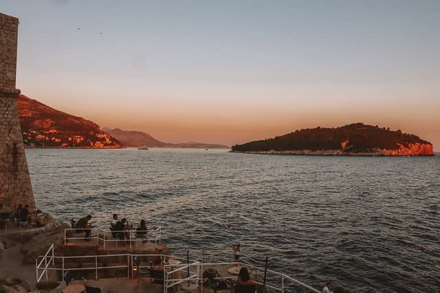 Buza bar in Dubrovnik with Lokrum island in the background