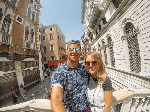 Selfie on a bridge in Venice. Venice in a day