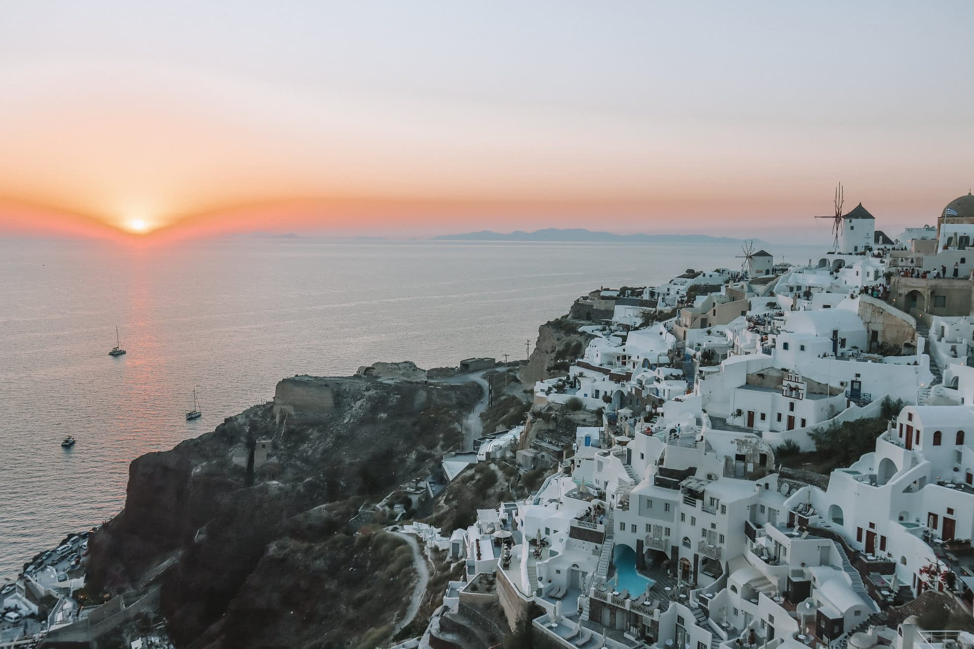 Oia ocean and buildings during sunset