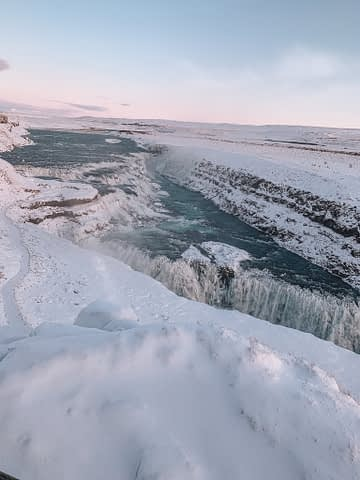 A snowy Gullfoss waterfall. Things to do in Iceland