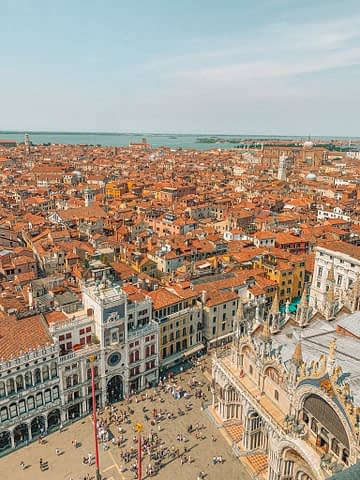 Campanile di San Marco Aerial view of city. Venice in a day