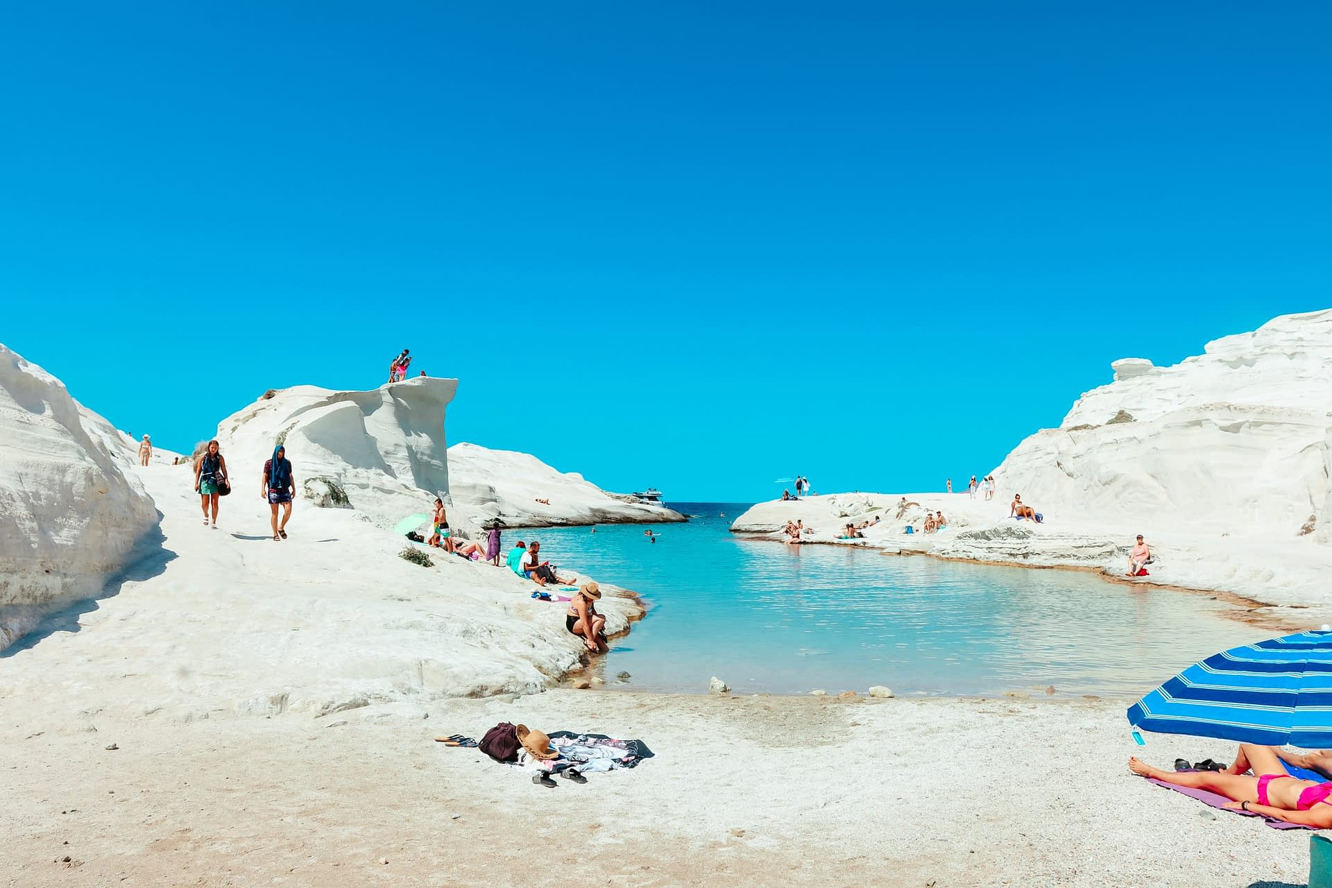 A view of the rocky sand at Sarakiniko. Things to do in Milos