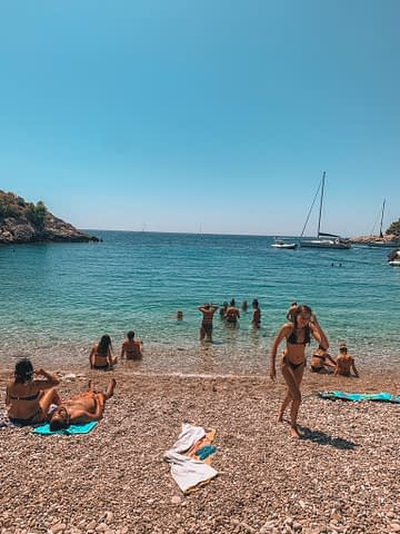 Best beaches in Hvar, Dubovika. A pebble beach with turquoise water
