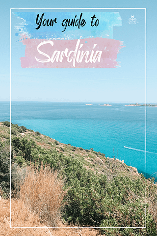 A hill leading to the ocean with a boat driving. What to do in Sardinia