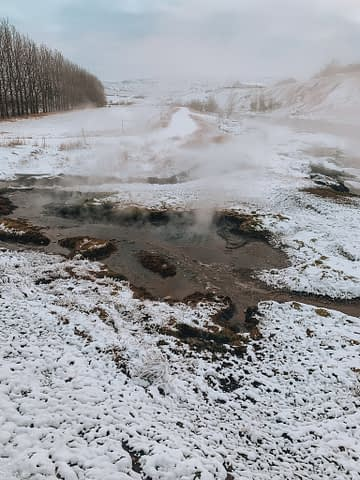 Secret Lagoon thermal springs scenery with woodland in the background. What to do in Iceland