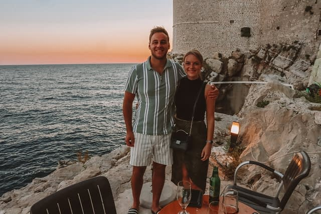 A couple drinking at Buza bar in Dubrovnik
